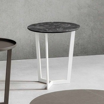 Coffee Table with Round Top in Laminated HPL Made in Italy - Mina