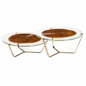 Coffee Table with Round Glass and Wood Top Made in Italy - Baviera