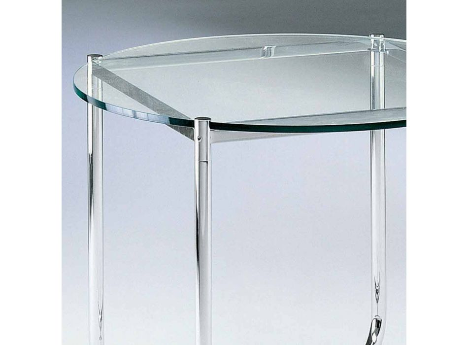 Coffee Table with Round Glass Top Made in Italy - Costanza