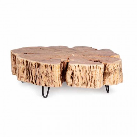 Homemotion Coffee Table with Shaped Top in Acacia Wood - Nabucco