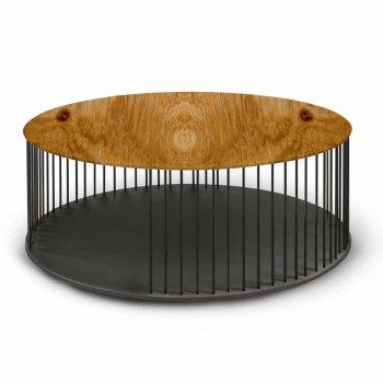 Coffee Table with Round Wooden Top Made in Italy - Montebianco