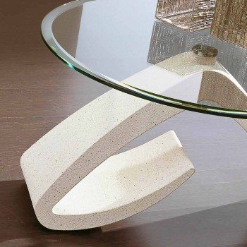 Coffee Table with Round Top in Glass Made in Italy, Precious - Brachetto