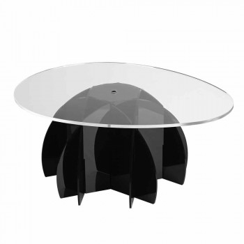 Coffee table with transparent shelf and black / satin base Phil
