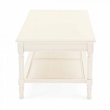 Classic Design Coffee Table in Wood and Rattan Homemotion - Raino