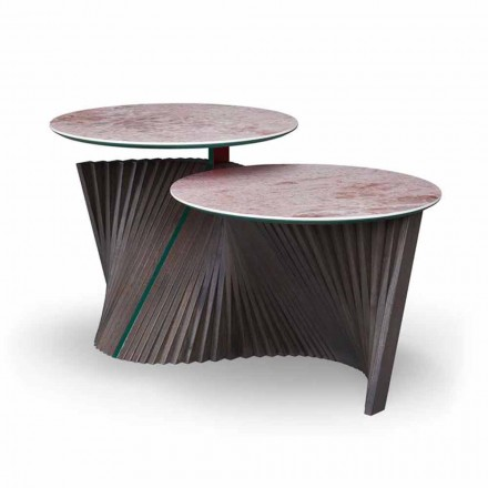 Luxury Coffee Table with 2 Round Tops in Gres Made in Italy - Stockholm