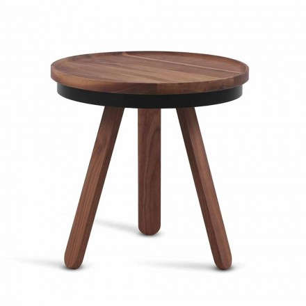 Design Coffee Table with Round Top and Solid Wood Legs - Salerno