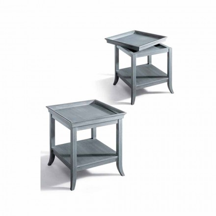 Classic living room coffee table Marcus, grey lacquered wood 60x60 cm