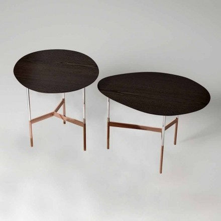 Design Coffee Table with Wooden Top Made in Italy - Cinci