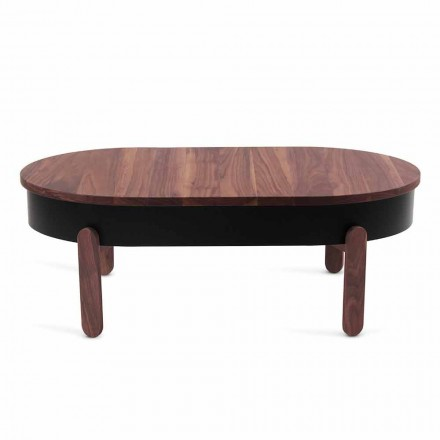 Design Coffee Table in Solid Wood and Lacquered Metal - Salerno
