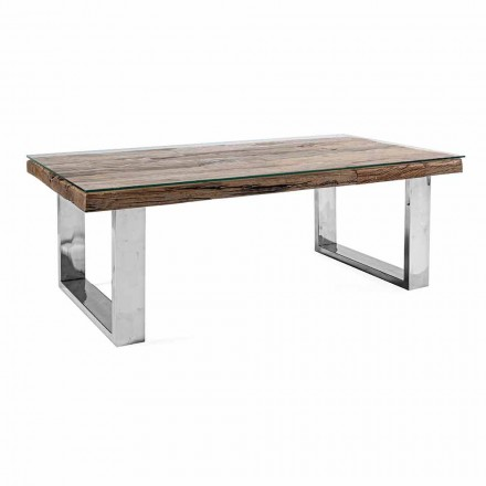 Design Coffee Table in Wood, Glass and Steel Homemotion - Frederic