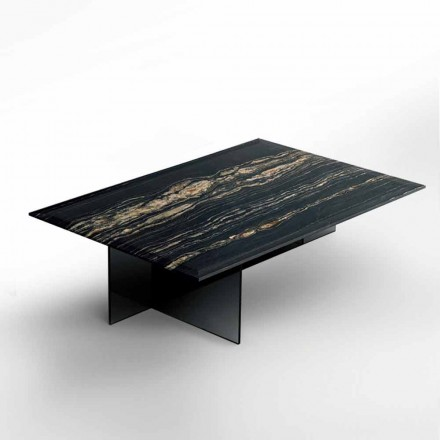 Design Coffee Table in Marble with Glass Base Made in Italy - Molino