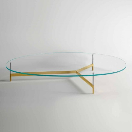 Design Coffee Table in Glass with Metal Base Made in Italy - Cinci