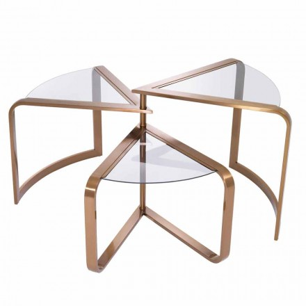 Design Coffee Table in Glass with Copper Finish Details - Carpi