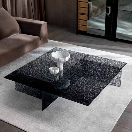 Design Coffee Table Extralight Decorated Glass Made in Italy - Sestola