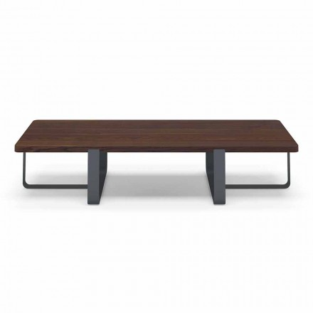 Luxury Coffee Table in Colored Metal and Wood Top - Anacleto