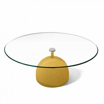 Coffee Table in Extra-clear Crystal and Metal Made in Italy - Livigno