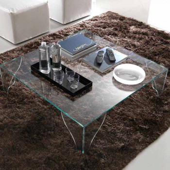 Coffee Table in Extra-clear Transparent Crystal Made in Italy - Lithium