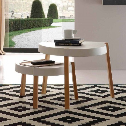 Scandinavian style coffee table Pineto, with white polypropylene top