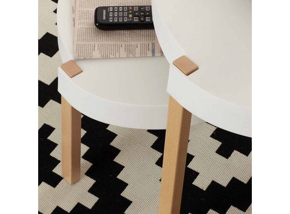 Coffee table in beech wood with top in white Pineto polypropylene