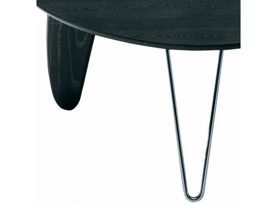Coffee Table in Ash with Steel Legs Made in Italy - Stilo