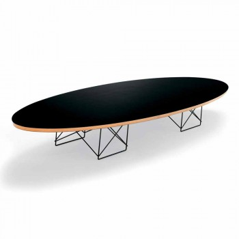 Coffee Table in Black Laminate and Lacquered Steel Made in Italy - Persefone
