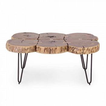 Coffee Table in Acacia Wood and Homemotion Painted Steel - Havana