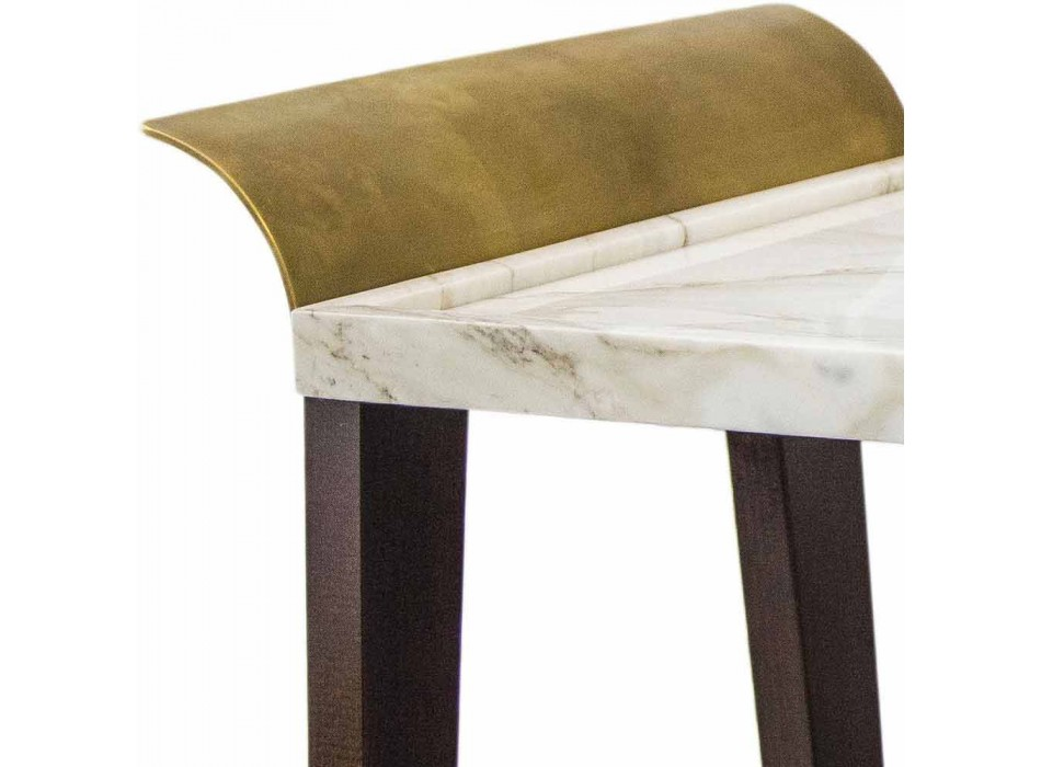 Cherry, Marble and Brass Coffee Table Made in Italy - Barto