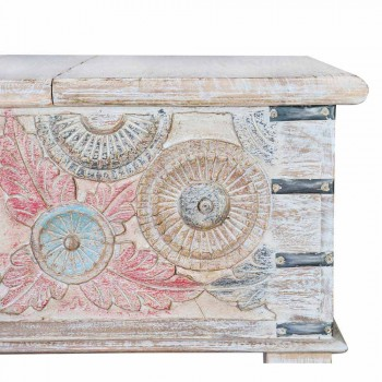 Coffee Table in Mango Wood with Vintage Design Opening - Arturino