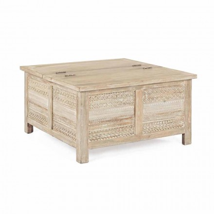 Homemotion Coffee Table in Mango Wood with Container - Mixo