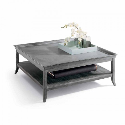 Coffee table in silver lacquered wood, L130xP130 cm, Berit