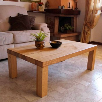 Coffee Table in Solid Ash Rustic Made in Italy - Nicea