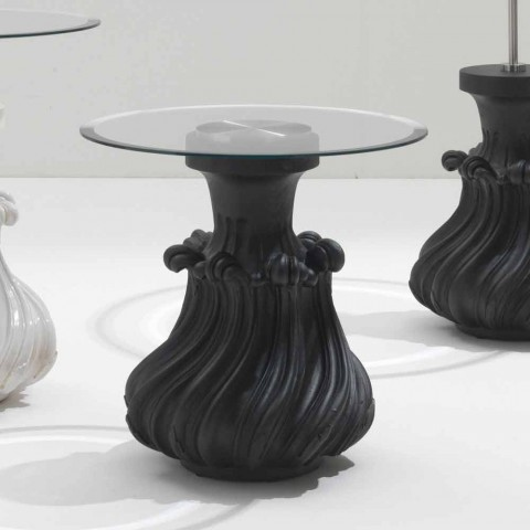 Coffee table in solid wood and crystal 60cm diameter, Margo