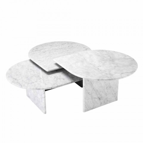 Coffee Table in White Carrara Marble Format of 3 Pieces - Marsala