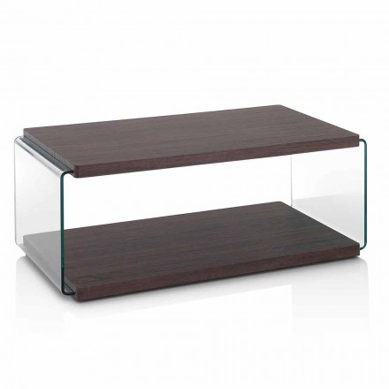 Coffee Table in Walnut Mdf and Transparent Glass in 2 Sizes - Mindie