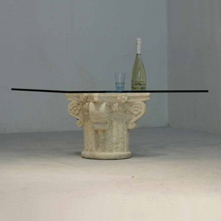 Classic coffee table made of Vicenza natural stone and crystal Balos
