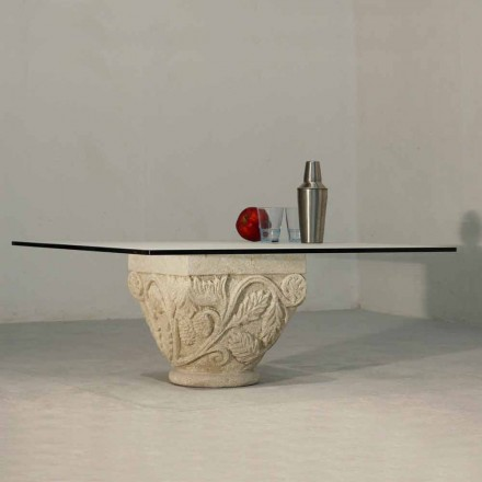 Classic coffee table made of crystal and Vicenza natural stone Mytros