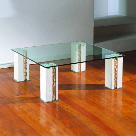 Natural stone and crystal coffee table Milos, made in Italy