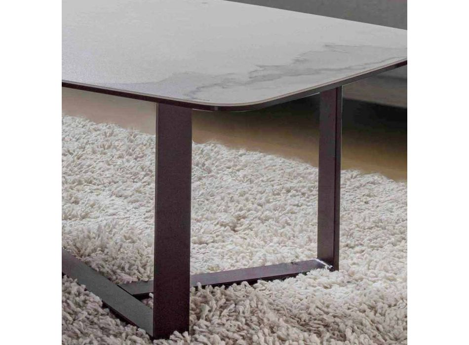 Coffee Table in Ceramic Glass with Painted Metal Base - Camilo