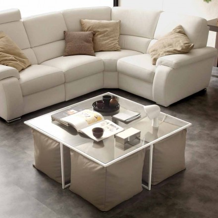 Glass coffee table Lula with 4 poufs, eco-leather upholstery
