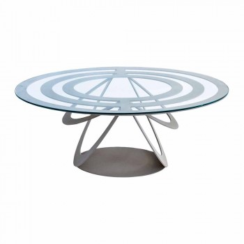 Coffee Table in Glass and White Iron or Slate Made in Italy - Olfeo