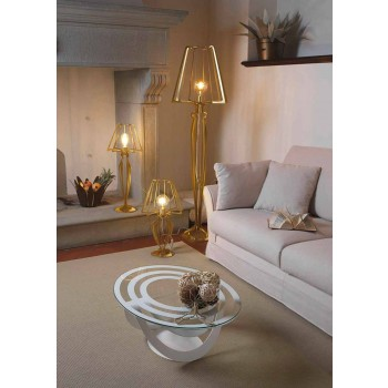Glass and White Iron or Slate Coffee Table Made in Italy - Olfeo