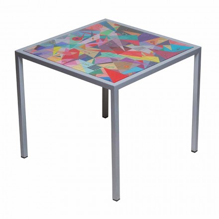 Modern 50x50cm coffee table in Nina metal, made in Italy