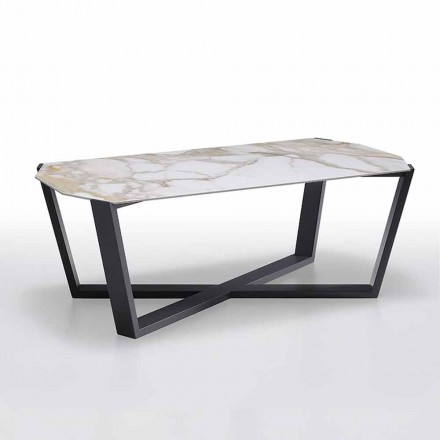 Coffee Table in Stoneware and Wood, High Quality Made in Italy - Titanic
