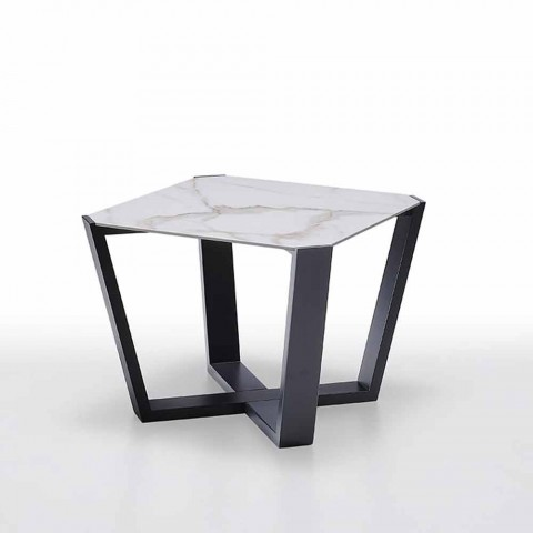 Modern Coffee Table in Gres and Beech Wood Made in Italy - Titanic