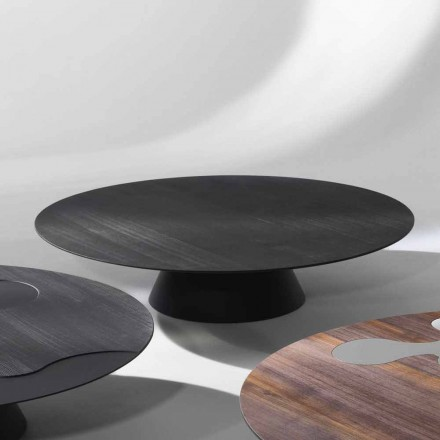 Modern design coffee table made of black lacquered larch wood Giglio