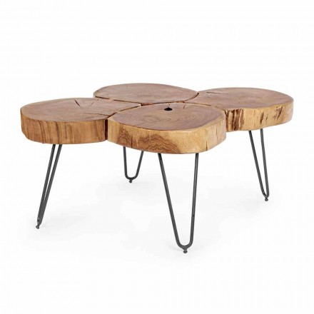 Homemotion Modern Coffee Table in Wood and Painted Steel - Severo