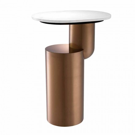 Modern Coffee Table in White Marble with Copper Finish Base - Cosenza
