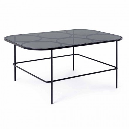 Homemotion Modern Coffee Table in Glass and Painted Steel - Rondino