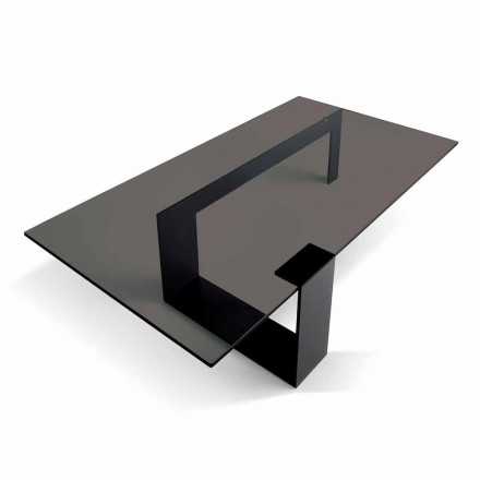 Modern Coffee Table with Smoked Glass Top and Metal Base Made in Italy - Scoby