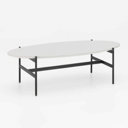Modern Design Oval Living Room Table with Ceramic Top - Donatella